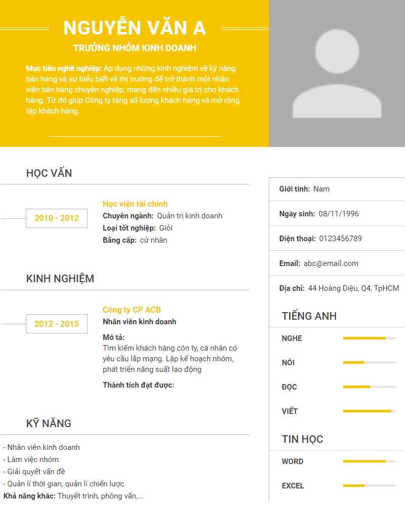 Mau CV/ Ho So Xin Viec Lam Chuan Download Mien Phi! 2