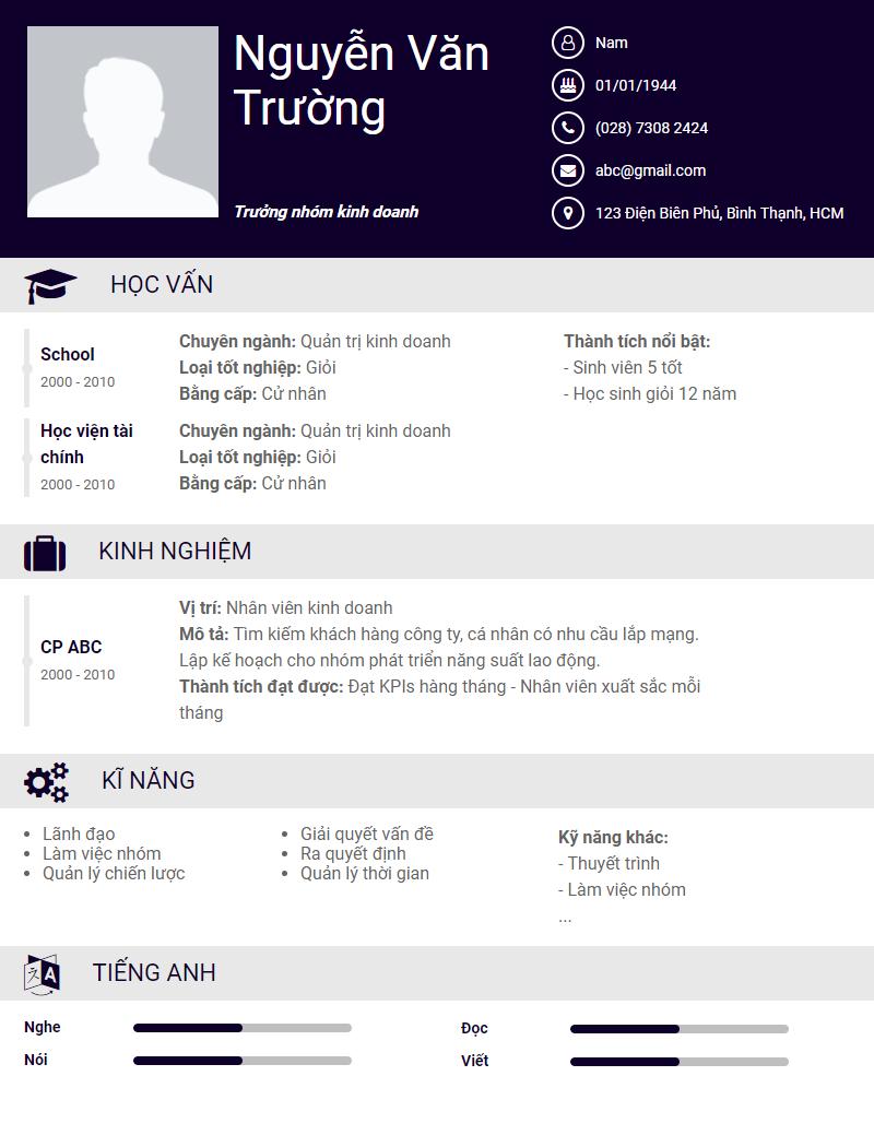 Mau CV/ Ho So Xin Viec Lam Chuan Download Mien Phi! 5